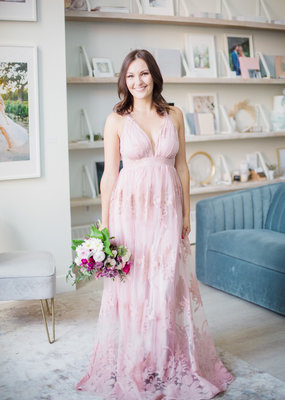 Luxxel Halle Maxi Dress with Velvet Flower Detail in Blush