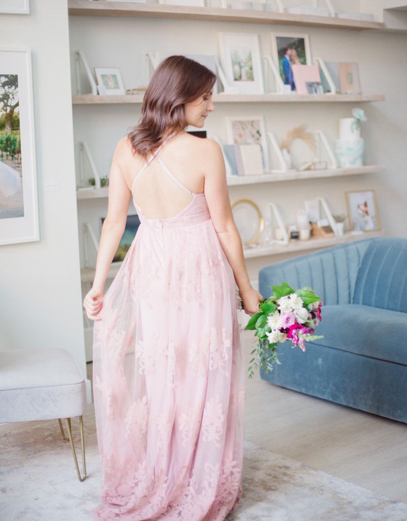 Luxxel Halle Maxi Dress with Velvet Flower Detail - Blush