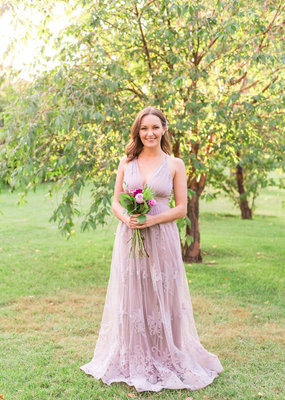 Luxxel Halle Maxi Dress with Velvet Flower Detail in Dusty Lilac