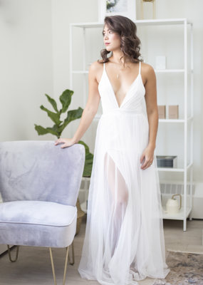 Luxxel Selena Tulle Maxi Dress in White