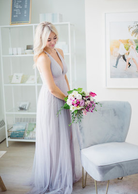 Luxxel Selena Tulle Maxi Dress in Dusty in Lilac