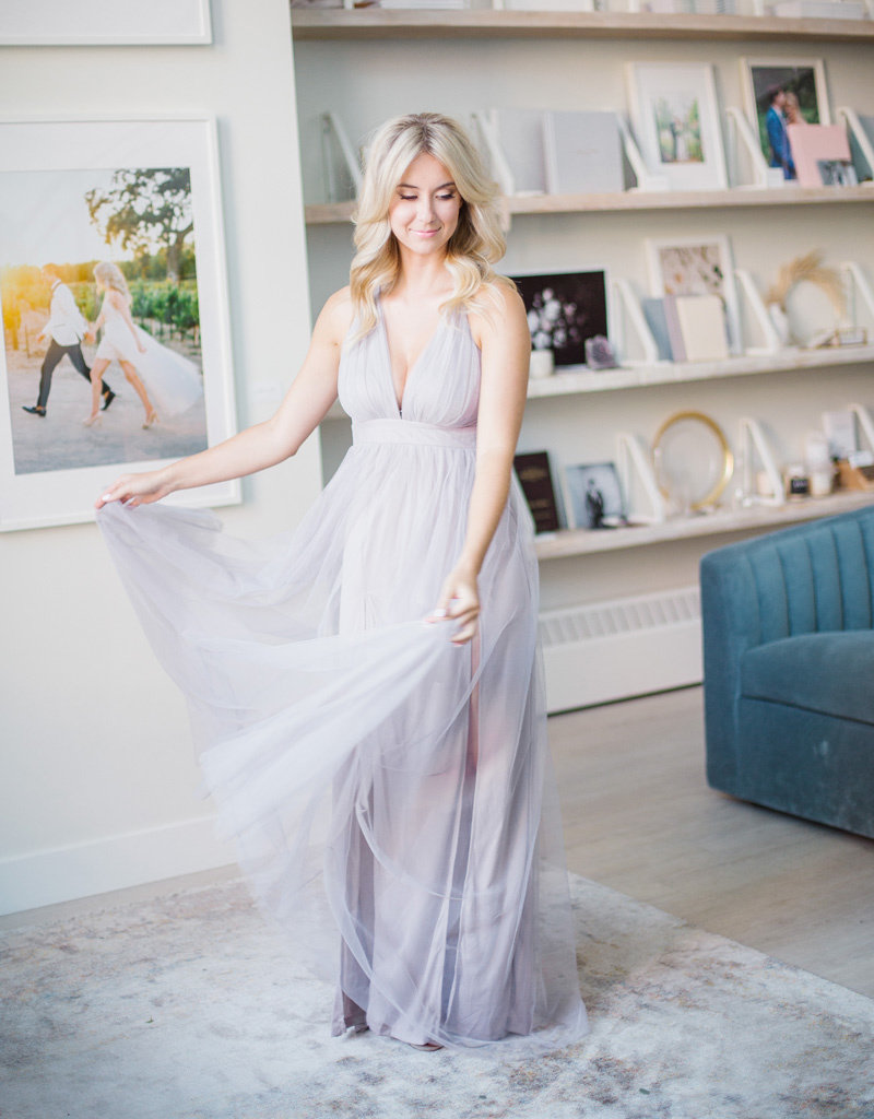 Luxxel Selena Tulle Maxi Dress - Dusty Lilac