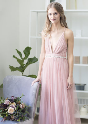 Luxxel Selena Tulle Maxi Dress in Blush