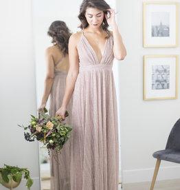 Luxxel Sierra Shimmer Maxi Dress in Mauve