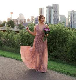 Luxxel Sierra Shimmer Maxi Dress in Rose Gold