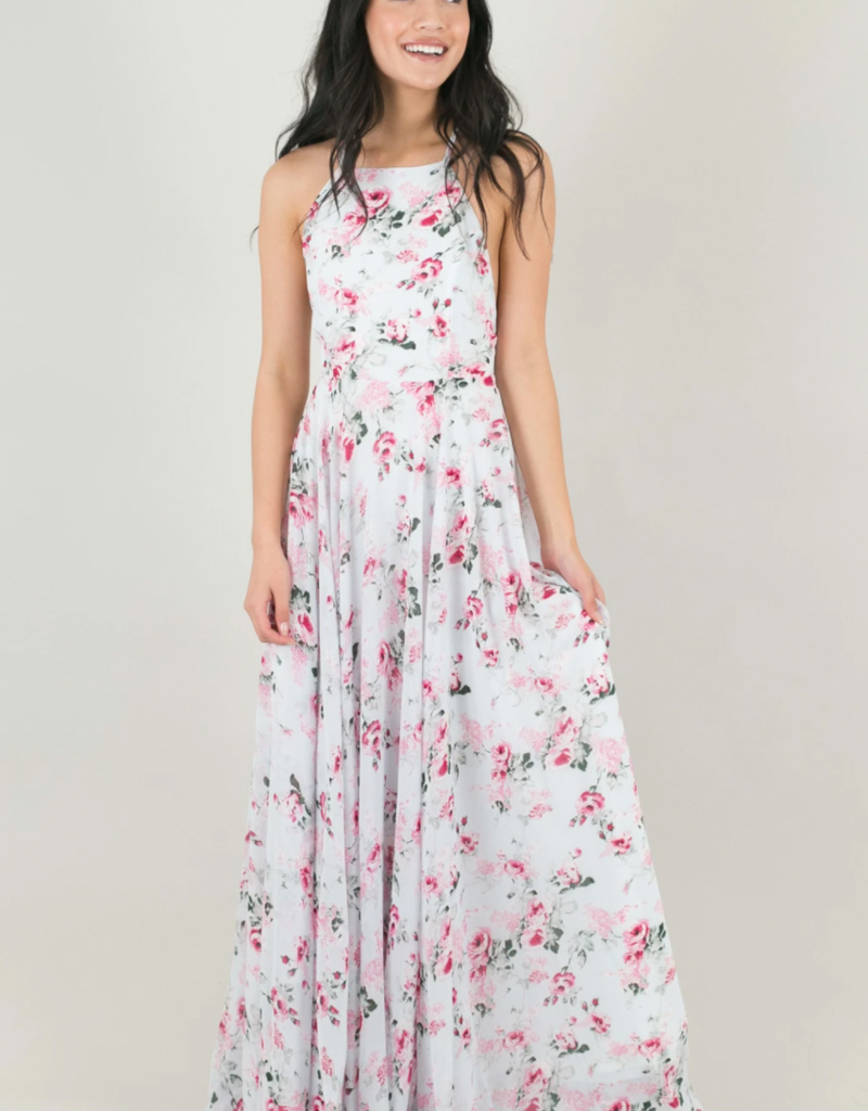 Skylar Belle Payton Maxi Dress - Blue Pink Floral