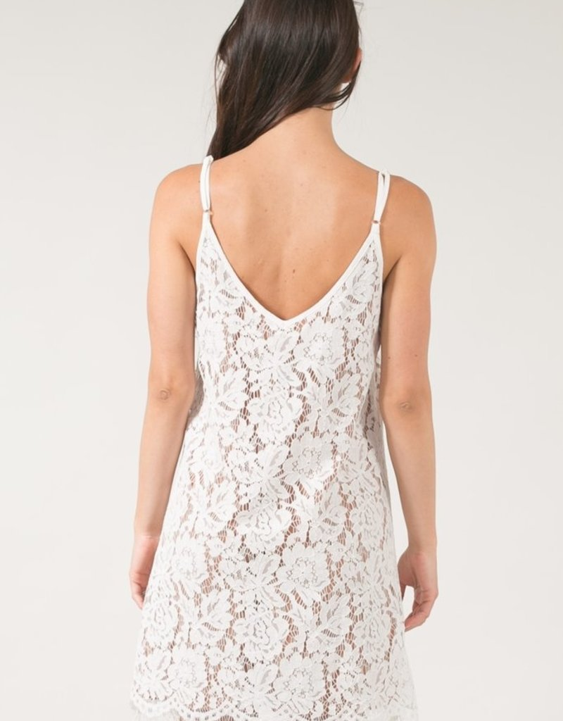 Space46 Lace Dress - Nude White