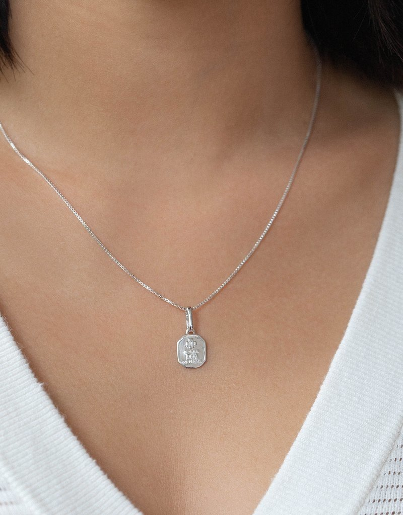 Leah Alexandra Leah Alexandra Square Love Token Necklace - Silver