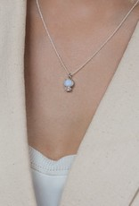 Leah Alexandra Bijou Necklace - Silver with Moonstone and White Topaz