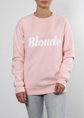 Brunette the Label Brunette the Label - Blonde Cursive Crew in Light Pink