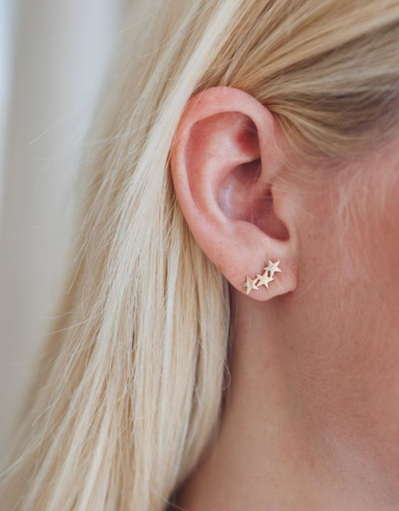 Right Hand Gal Triple Star Studs - Gold