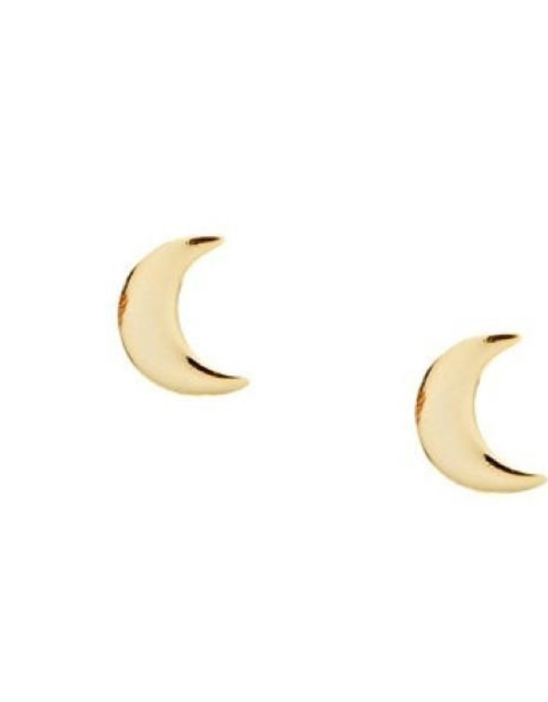 Right Hand Gal Moon Studs - Gold