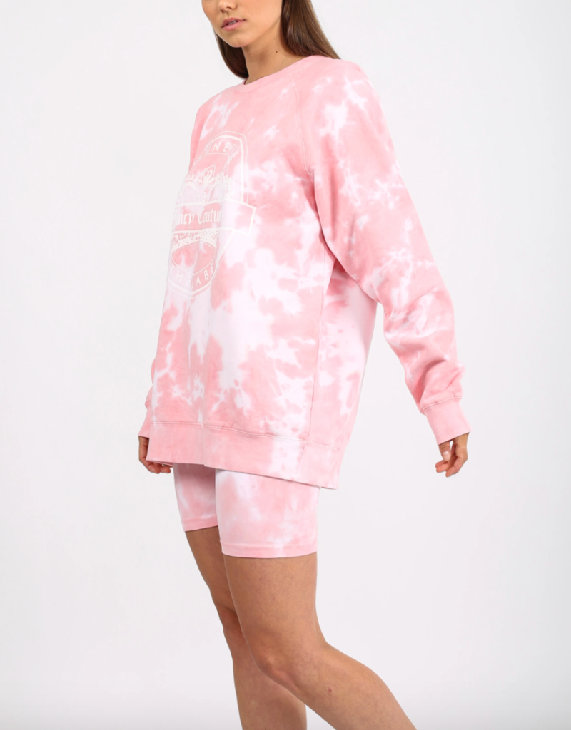 Brunette the Label Juicy Varsity Big Sister Crew Sweatshirt - Pink Tie Dye