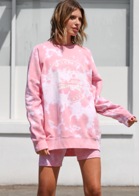 Brunette the Label Brunette the Label - Juicy Varsity Big Sister Crew Sweatshirt in Pink Tie Dye