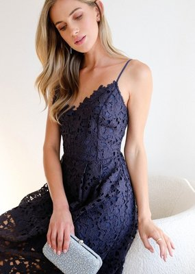 ASTR Kenna Lace Midi Dress in Navy