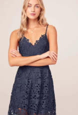 ASTR Kenna Lace Midi Dress in Navy