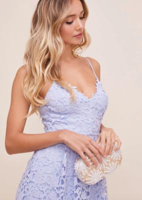 ASTR Kenna Lace Midi Dress in Sky Blue