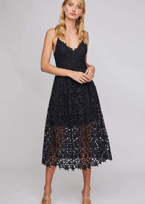 ASTR Kenna Lace Midi Dress in Black