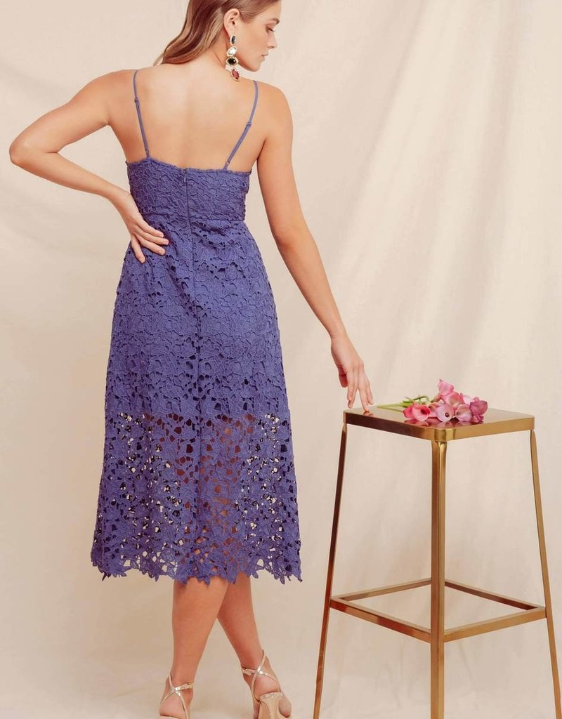 ASTR Kenna Lace Midi Dress in Blue Purple