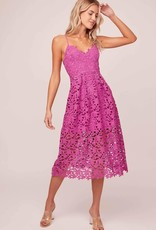 ASTR Kenna Lace Midi Dress in Fuchsia