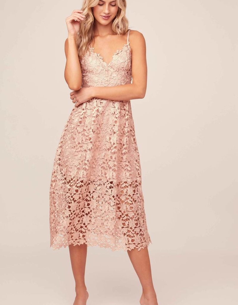 ASTR Kenna Lace Midi Dress in Rose Gold