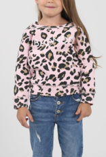 Brunette the Label Blonde Kids Crew Sweatshirt - Pink Leopard