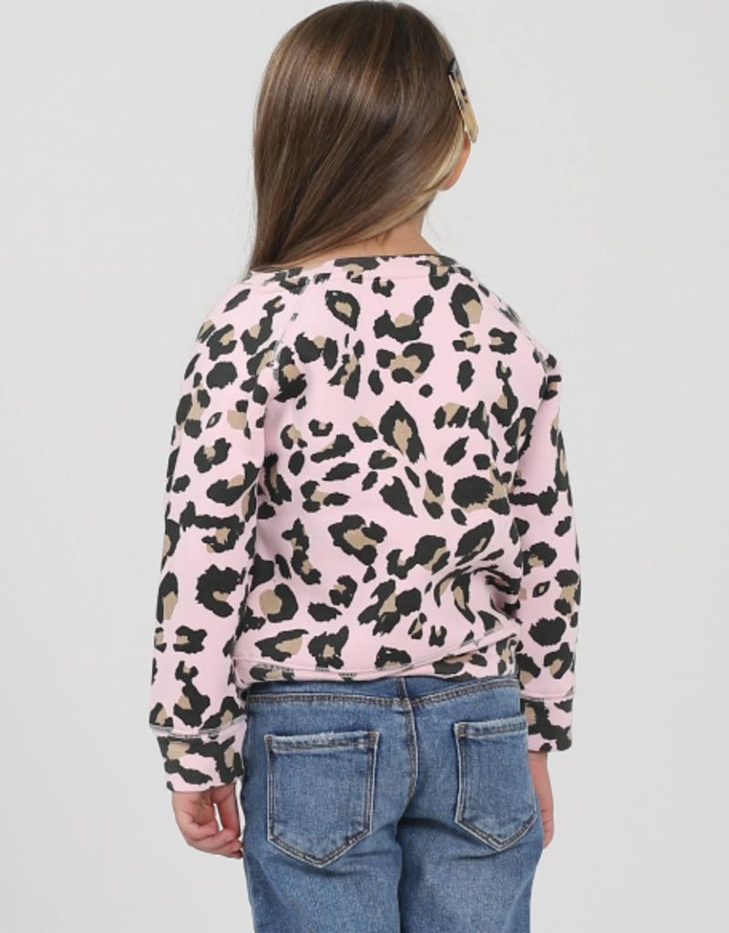 Brunette the Label Brunette Kids Crew Sweatshirt - Pink Leopard