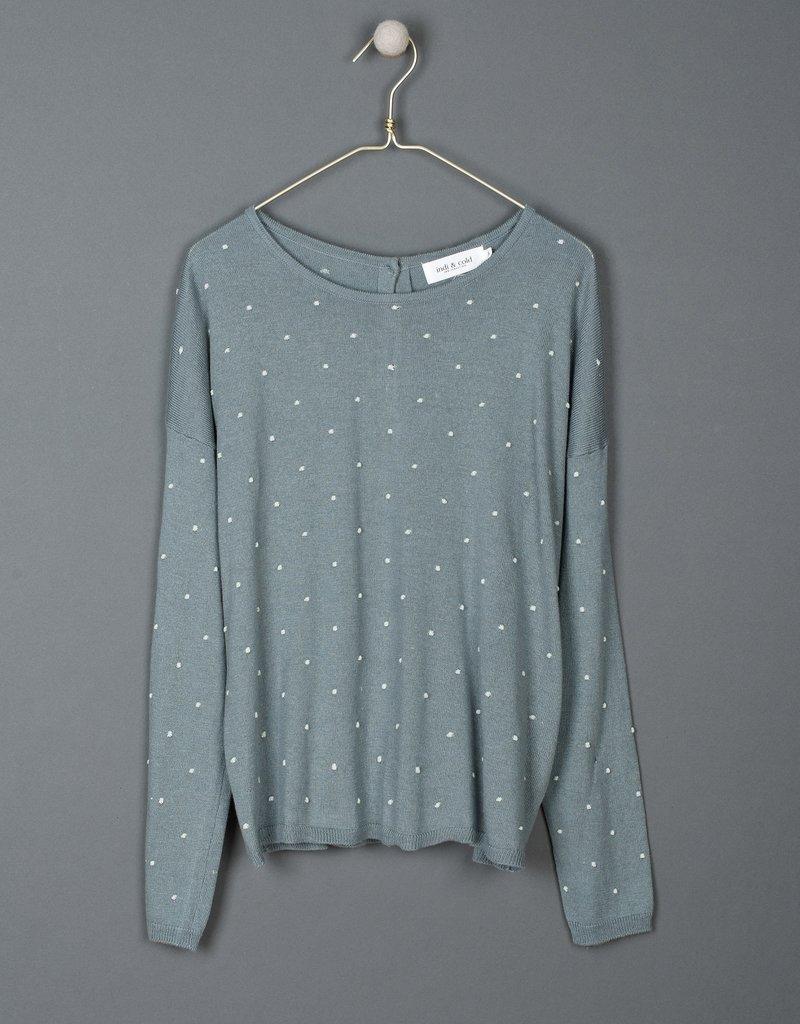 Indi and Cold Carolina Embroidered Polka Dot  Sweater