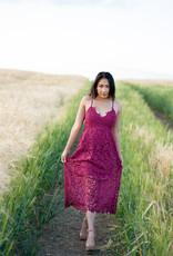 ASTR Kenna Lace Midi Dress in Berry
