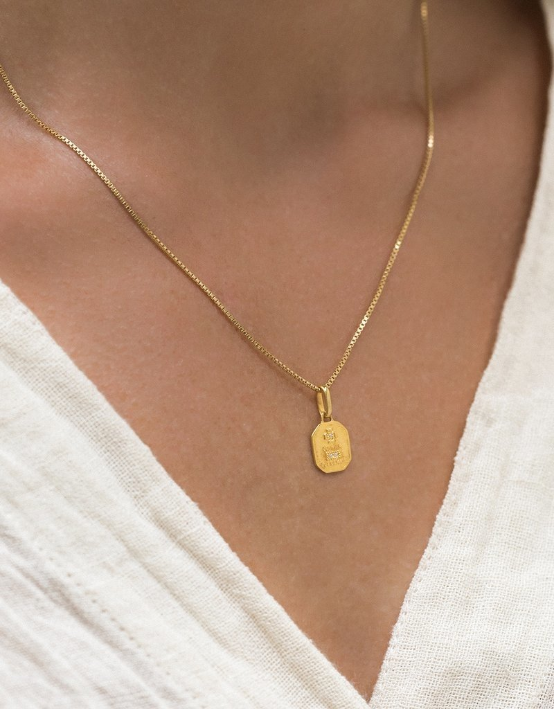 Leah Alexandra Leah Alexandra Square Love Token Necklace - Gold 16""