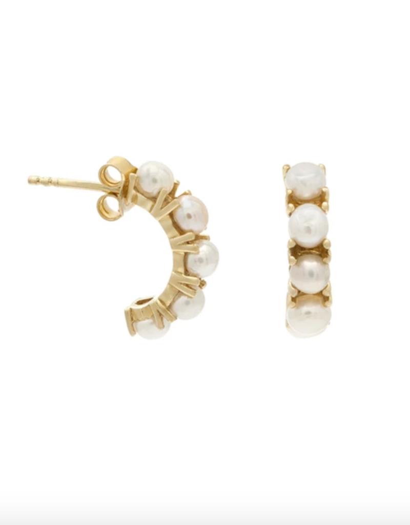 Leah Alexandra Kusshi Mini Hoops - Pearl