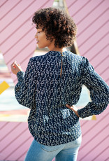 Indi and Cold Damita Blouse - Navy Vine Print