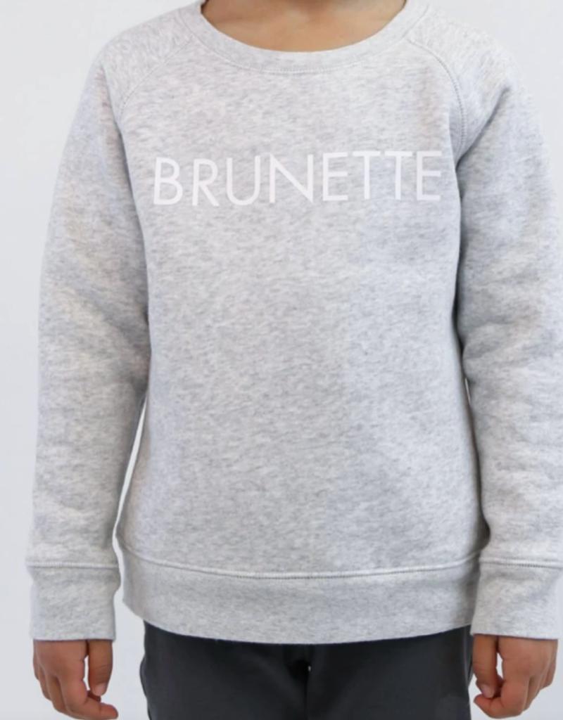 "Brunette the Label Little Babes Crewneck Sweatshirt ""Brunette"" Pebble Grey"
