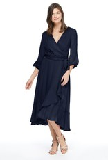 Gal Meets Glam Jennifer Shimmer Satin Ruffle Wrap Dress in Navy
