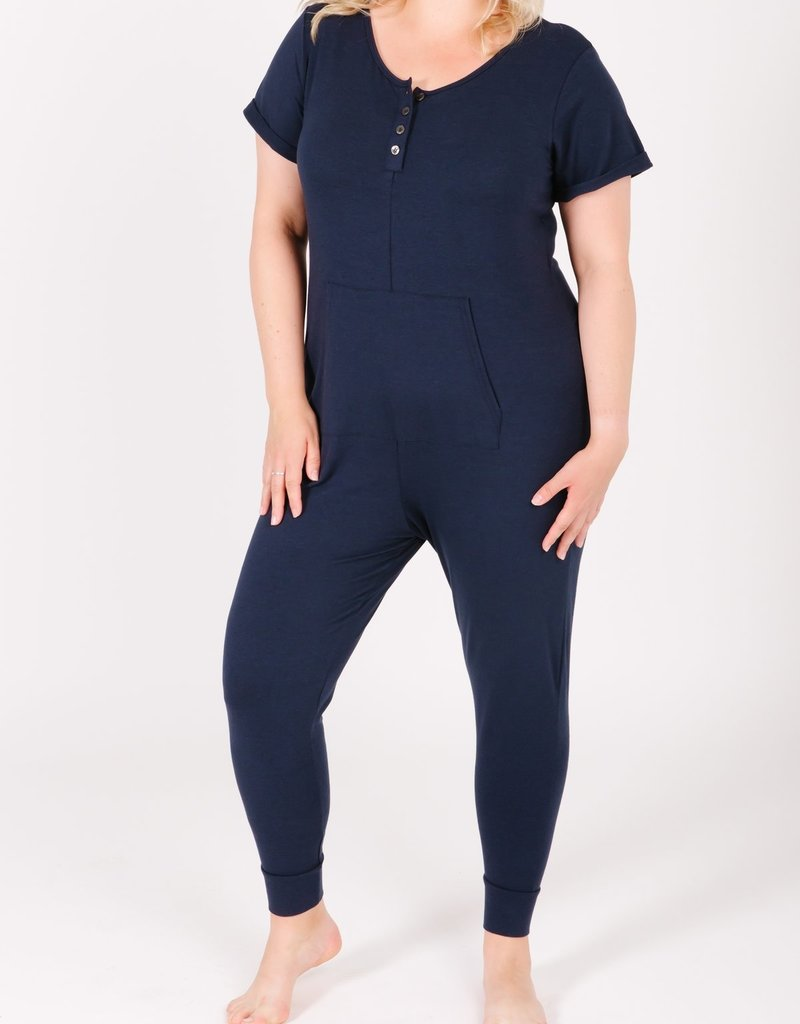 Smash + Tess Anyday Shortsleeve Button Up Romper - Navy