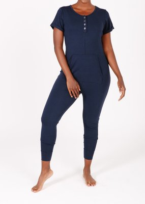 Smash + Tess Smash + Tess - Anyday Shortsleeve Button Up Romper in Navy