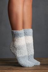 Lemon Colorblock Furry Sock 2 pack in Teal