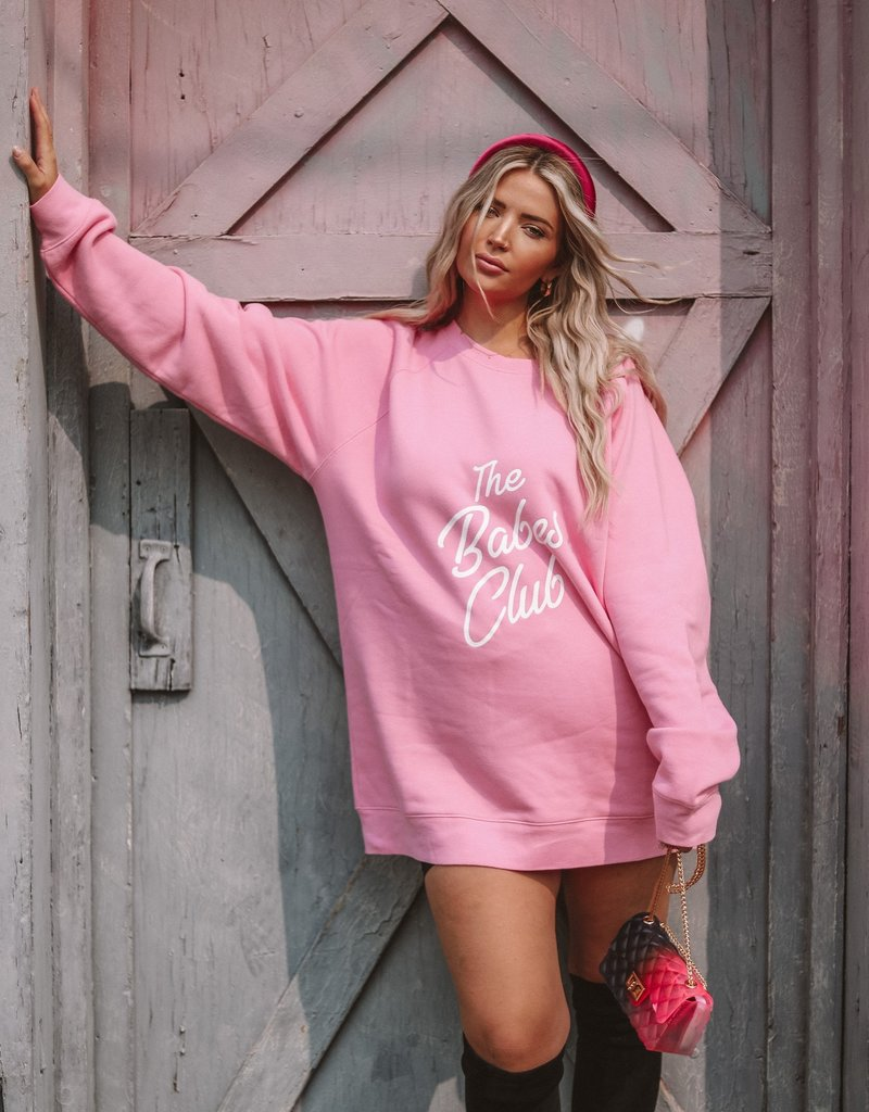 Brunette the Label The Babes Club Big Sister Sweatshirt - Hot Pink | The Birds Papaya Limited-Edition