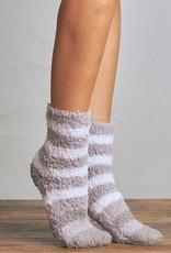 Lemon Stripe Furry Sock 2pk - Grey/Purple