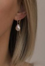 Leah Alexandra Pearl Threader Earring - Gold