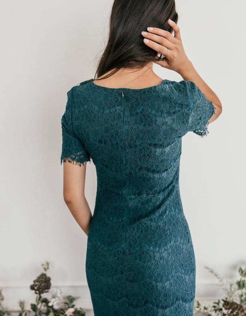 JessaKae French Quarter Lace Dress in Forest Green