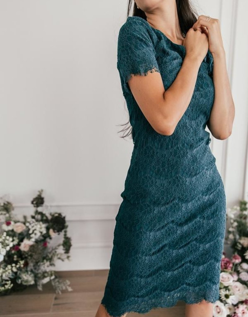 Jessa Kae French Quarter Lace Dress in Forest Green