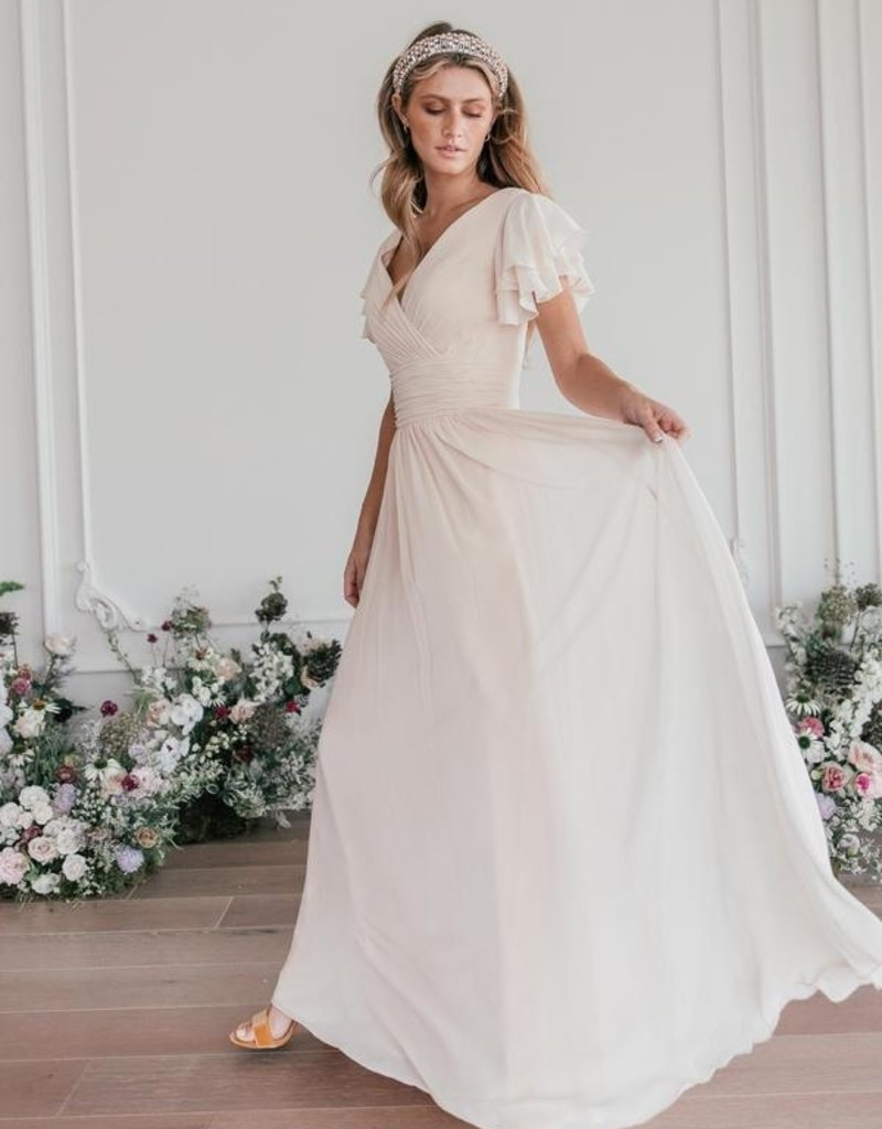JessaKae Endless Love Chiffon Maxi Dress in Ivory