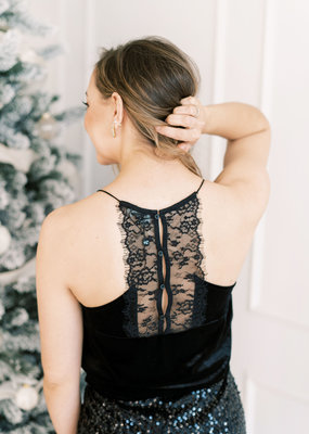 Molly Bracken Velvet Black Lace Camisole