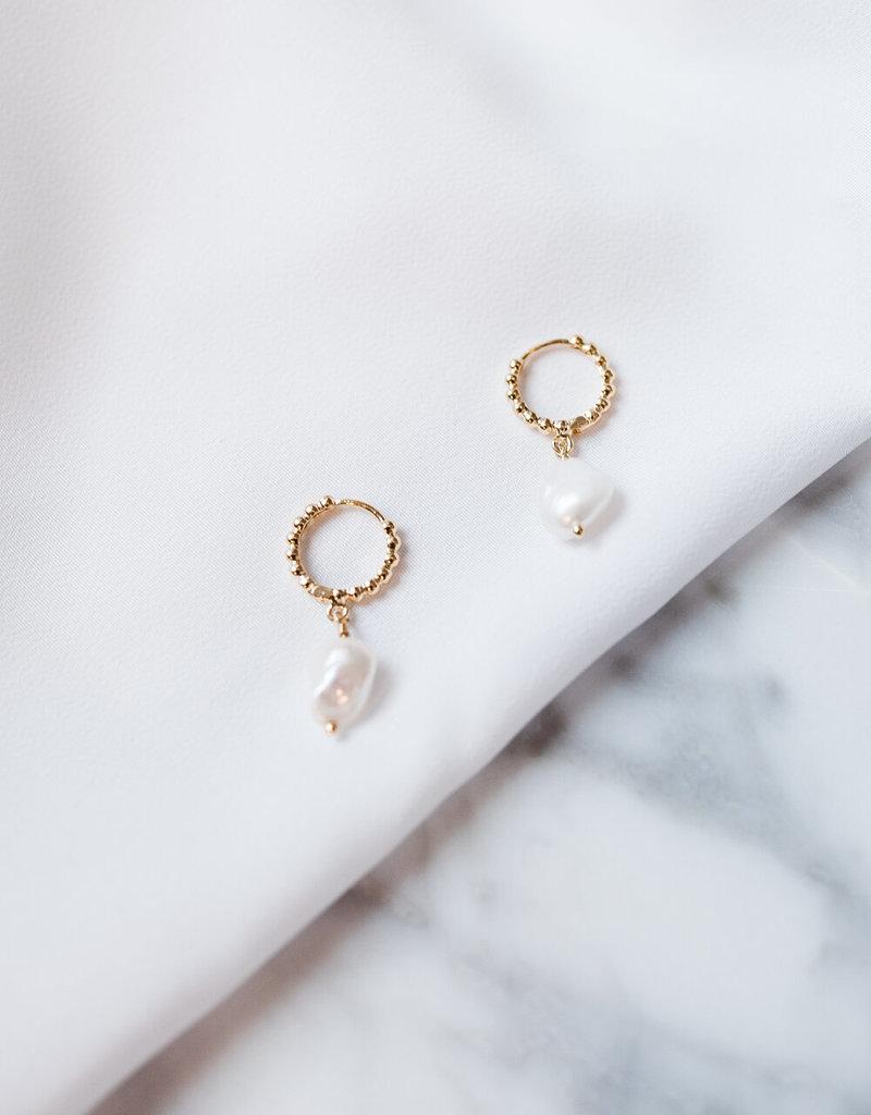 Lavender & Grace Pearl Huggie Earrings
