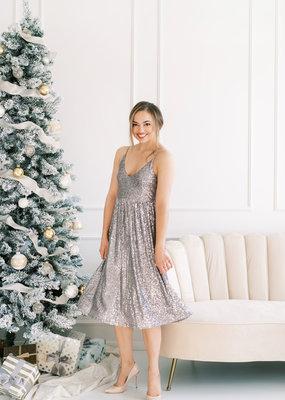 Shero Ellis Silver Sequin Midi Dress