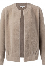 Yaya Fluffy Cardigan in Taupe