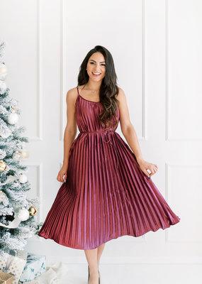 Dress Forum Gracie Satin Pleated Midi Dress
