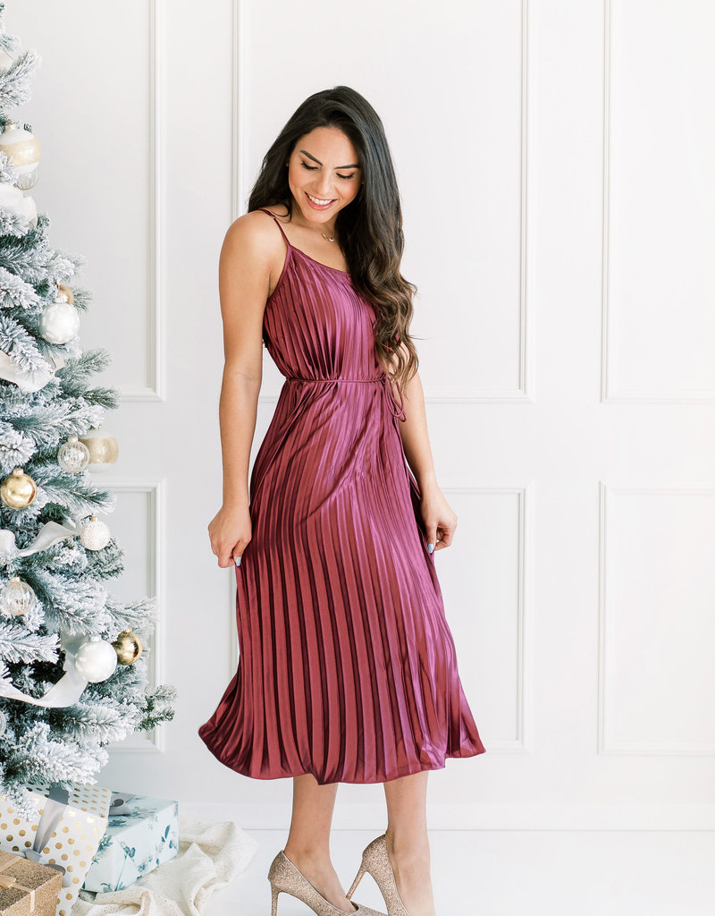 Dress Forum Gracie Satin Pleated Midi Dress in Mulberry