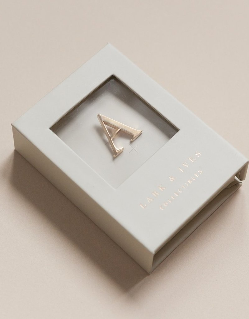 Lark and Ives Gold Monogram Pin